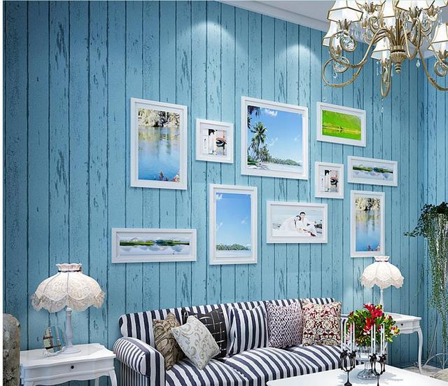 Behang Slaapkamer Blauw.Mediterrane Blauw Retro Nostalgie Hout Kledingwinkel Vliesbehang