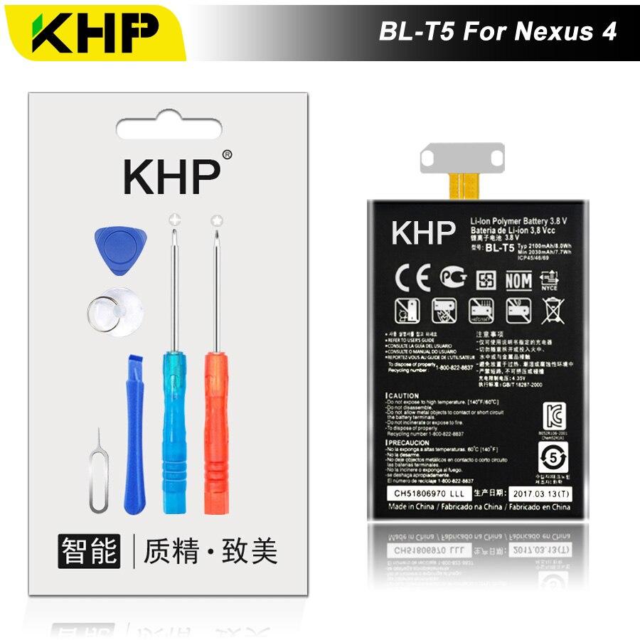 2017 KHP NOVO 100% BL-T5 Bateria Do Telefone Para LG Nexus 4 E960 E975 E973 E970 F180 Optimus G Substituição Móvel de Alta Qualidade bateria