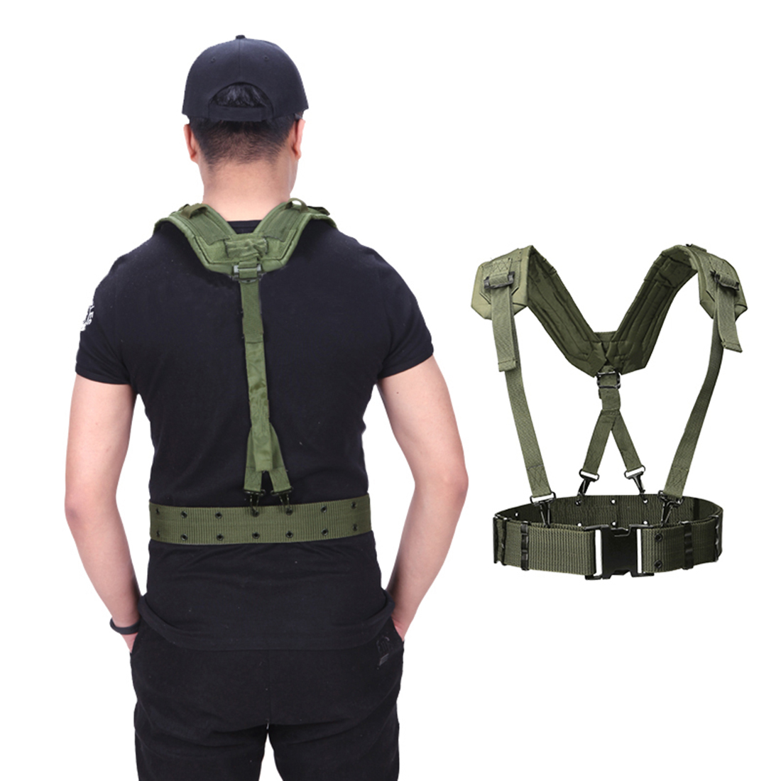 HTB1VCVeaZrrK1RjSspaq6AREXXap - HS Adjustable Tactical Lightweight Waist Belt Harness Set for Outdoor Military Shoulder Waist Protective Band for Adult