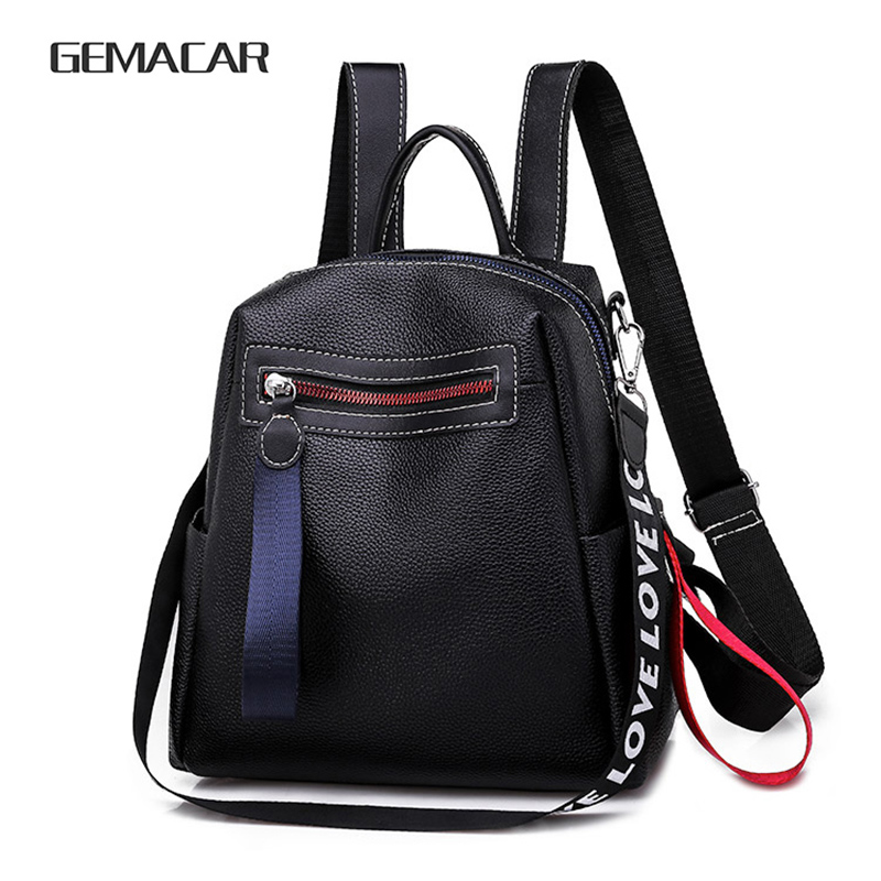 New Casual Backpack Classic Design Ladies Backpack Fashion Trend PU Leather Young Girls Cute Bag Black White Lightweight