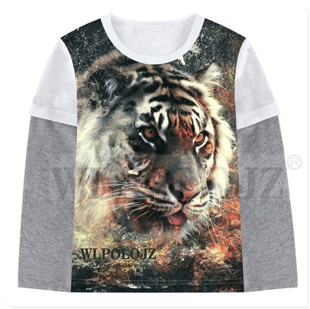 09fade236 Boys T-shirt Kids Tees Baby Boy T Shirts Children Blouses Cotton Long  Sleeve Animals tiger print Clothes Child Costume 2-12Y