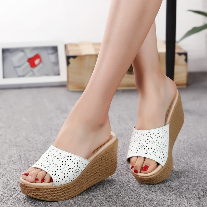 8985 fashion summer outdoor new hot classic thick bottom leather sandals  women wedges sandals8985 fashion summer outdoor new hot classic thick bottom leather sandals  women wedges sandals