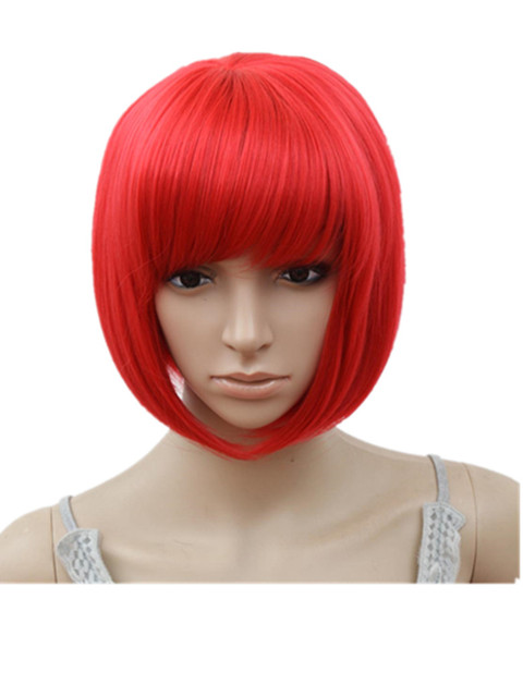 Fei Show Inclined Bangs Short Wavy Wigs Pink Purple Blonde Red Blue