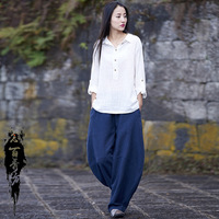 Summer Cotton Linen Women Ramie Lantern Wide Pants Casual Long Flare Pants Elastic Waist Chinese Style Trousers Hot Sale Pure