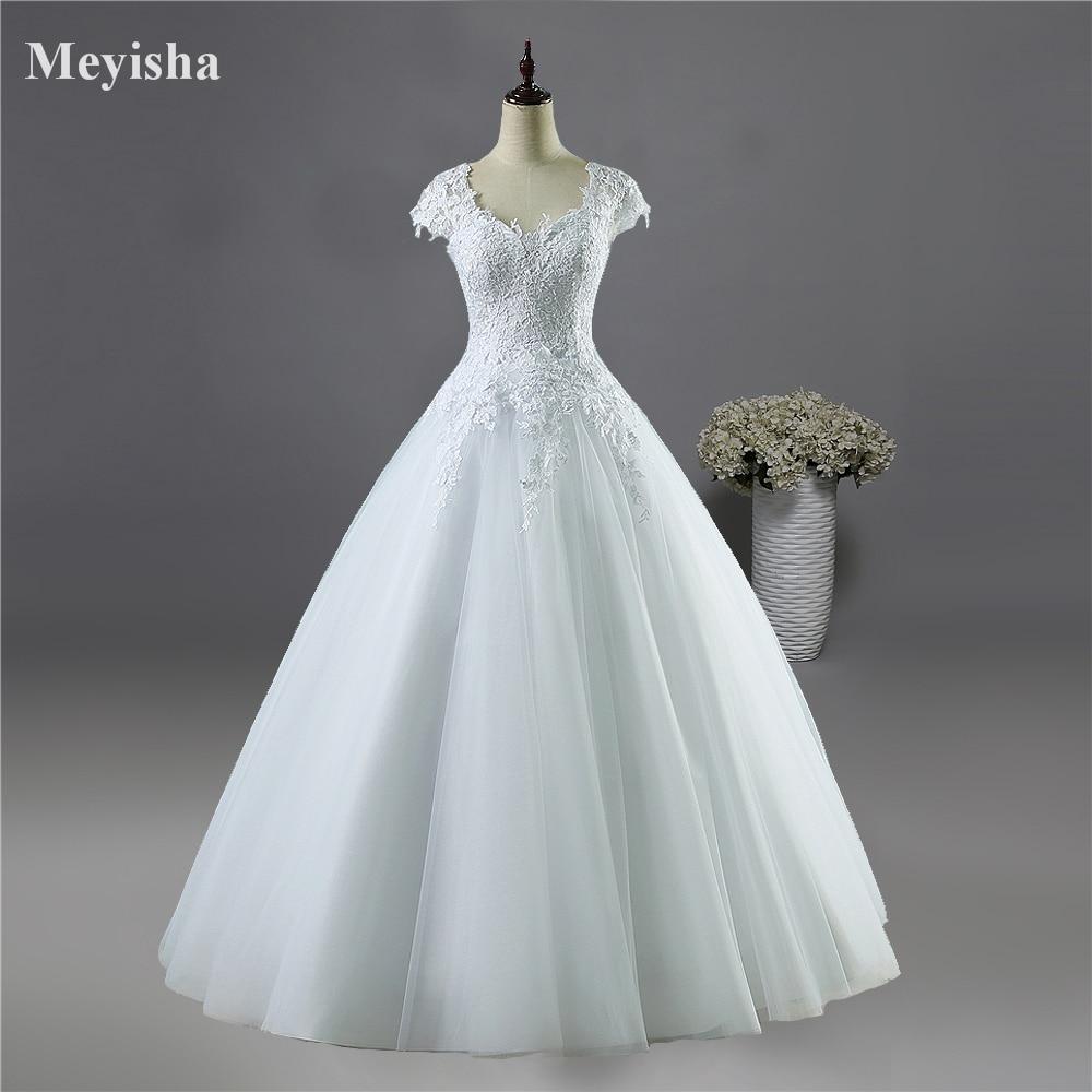 Sapphire Bridal Vintage Wedding Dress 3 4 Sleeve White: ZJ9085 2016 Lace White Ivory Short Sleeve Wedding Dresses
