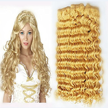 Full Shine Three Bundles of Peruvian Human Hair Weave Color 61 Blonde Deep Wave Remy Human