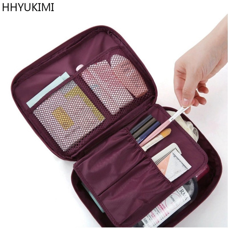 HHYUKIMI Fashion Waterproof Oxford Women Makeup Bag Travel Portable Beautician Cosmetic Bag Men Bathroom Toiletry Wash Organizer