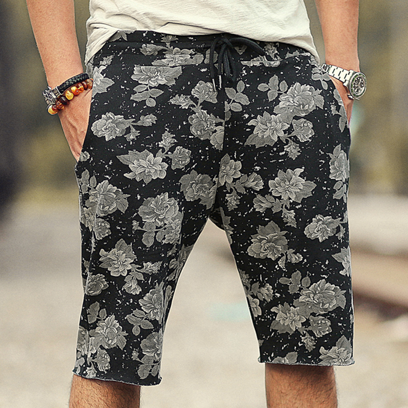 Men summer printed flower casual loose European style black quick dry shorts men cotton fashion New beach shorts hot sale K819