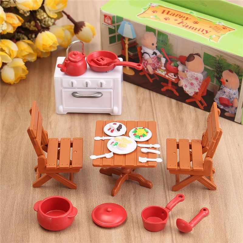 Diy البلاستيك دمية مصغرة دمى منزل نزهة مجموعة الصوتيات للأطفال 1/12 miniatura ديكور أثاث طاولة لعبة مجموعات