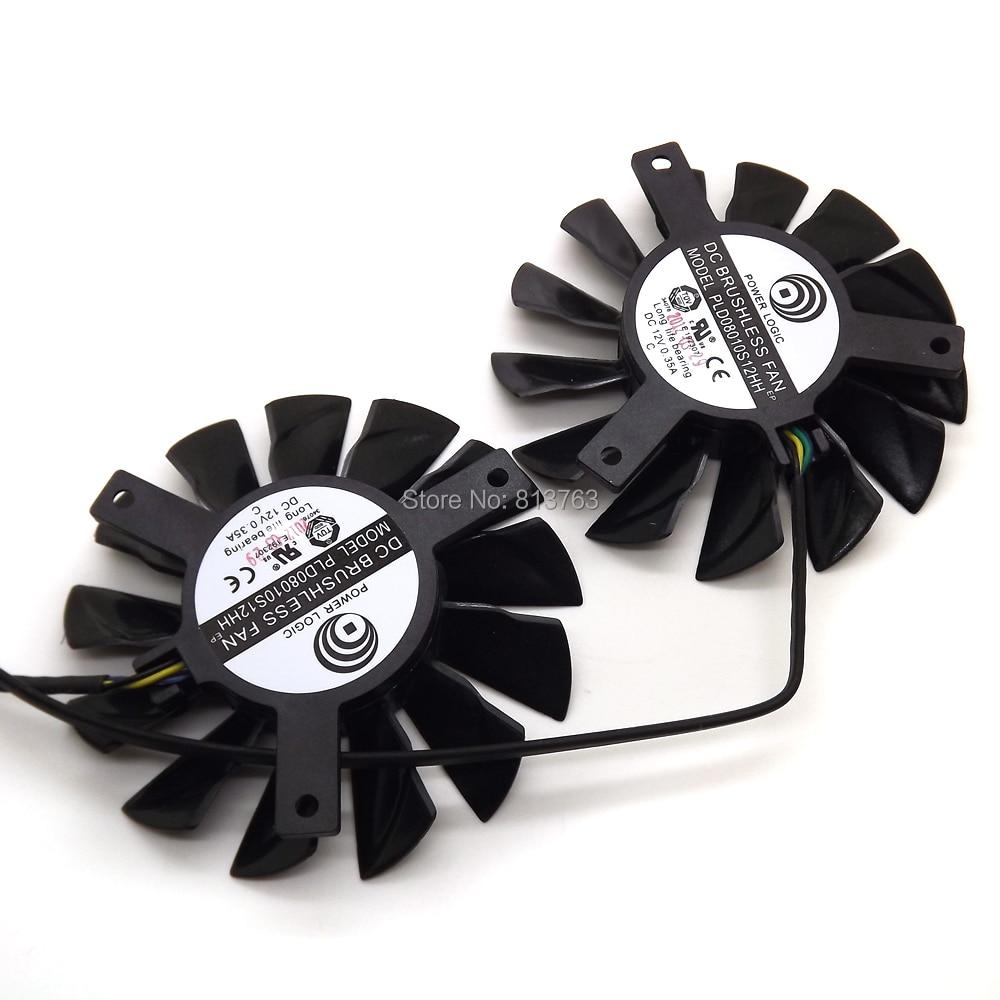 2 unids / lote PLD08010S12HH 75mm DC 12V 0.35A 4Pin Ventiladores Dual - Componentes informáticos - foto 2