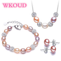 Wedding freshwater pearl jewelry sets women 7 8mm natural pearl jewelry 925 sterling silver girlfriend mom birthday best gift