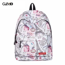Ou Mo brand Eiffel tower Women Mini Bag man teenagers Boys/Girls Schoolbag laptop computer anti theft backpack feminina