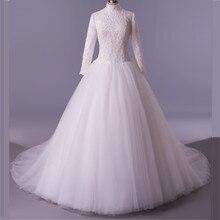 MDBRIDAL Women Ball Gown Modest Wedding Dress Long Sleeves High Neck Appliques Beading Arabic Women Bridal Gown Real
