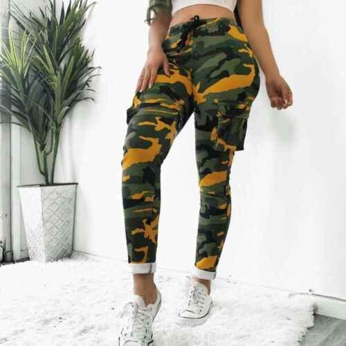 2019 novas mulheres de cintura alta camuflagem joggers calças senhoras casuais camo carga calças femininas casuais ployester calças elásticas
