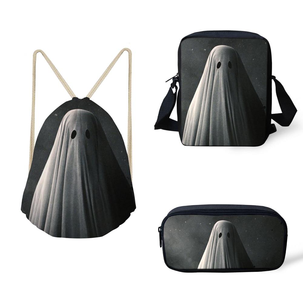 FORUDESIGNS Funny Ghost 3PCS /Set For Teenage Girls Shoulder Drawstring Bags Backpack Crossbody Bag Pencil Case School Sac A Dos