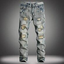 Fashion trend male retro vintage broken hole distressed straight denim pants street wear mid waist ripped jeans trousers men