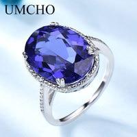 UMCHO Hyperbole Created Tanzanite Gemstone Jewelry 925 Sterling Silver Rings For Women Forlove Anniversary Gifts Fine Jewelry