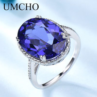 UMCHO Hyperbole Created Tanzanite Gemstone Jewelry 925 Sterling Silver Rings For Women Forlove Anniversary Gifts Fine Jewelry