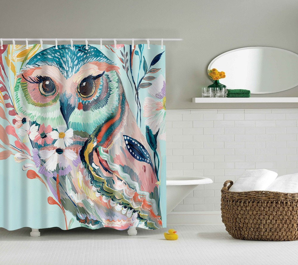 Owl shower curtains - Printed Oil Painting Owl Shower Curtain Waterproof Polyester Fabric Bird Shower Curtain For Bathroom China