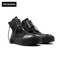 2018 Nowych Mężczyzna Buty Skórzane Kostki Knitting Buty Luksusowe Trenerów buty Zimowe Śnieg Dorywczo Sneaker Lace-up Skarpety Mieszkania czarne Buty