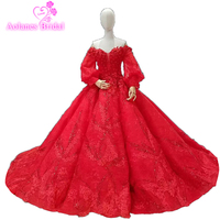 Luxury Red Lace Flowers Wedding dresses Puffy Long Sleeves Big Skirt Waves Petticoat Including New Design Bridal Dresses