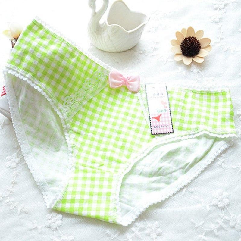 Fashion Women Lace Floral Bowknot Briefs Plaid Cotton Panties Underwear Cozy Underpants