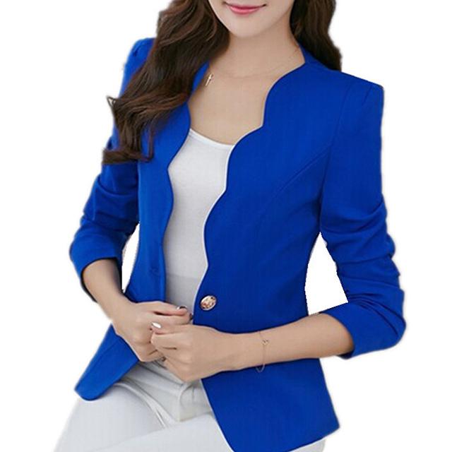 FS Hot Outono jaquetas casuais jaquetas mulheres fino terno projeto curto revestimento das mulheres do escritório roupas-Azul, S