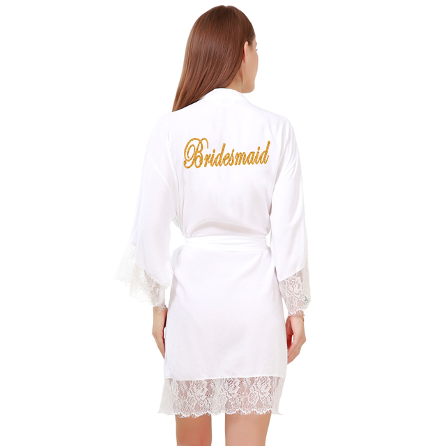 04a13df601 Bridesmaid Cotton Silk Robes Women s Lace Trim Kimono Robe Nightwear  Nightgown Sleepwear Satin Short Robe customized