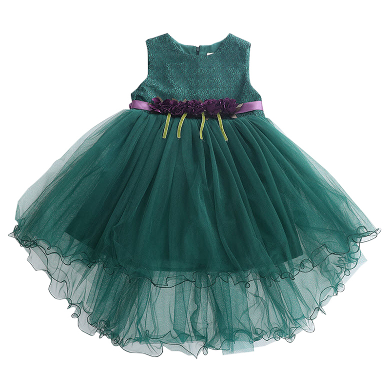 Kids GirlsParty Dress 2017 New Arrival Pink Green Flower Lace Birthday Wedding Dress Summer Sleeveless Clothes 3-11Y GD12 girls summer new arrival korean dress children clothes little child rose flower lace chiffon dress kids clothes pink green