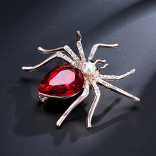 Hesiod Warna Merah Spider Bros Pin Pesta Pernikahan Warna Emas Berlian Imitasi Kristal Spider Bros Korsase Bouquet Perhiasan Antik(China)