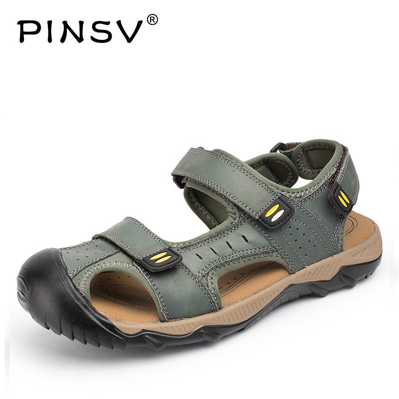 Summer Shoes Men Genuine Leather Sandals Men Footwear Outdoor Beach Sandals For Men Plus Size 38-48 Sandalias Hombre 2018