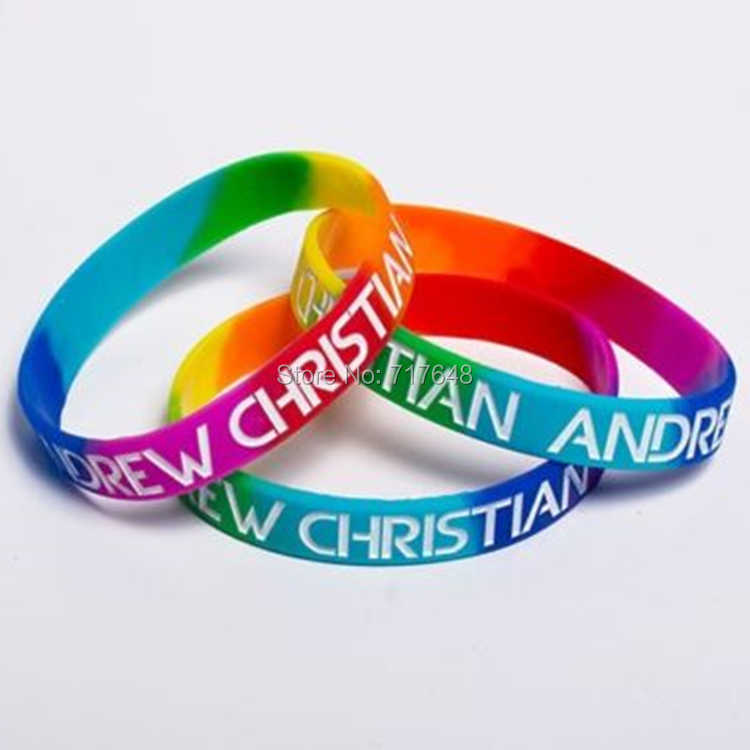 300pcs ANDREW CHRISTIAN PRIDE RAINBOW wristband silicone bracelets free shipping by FEDEX