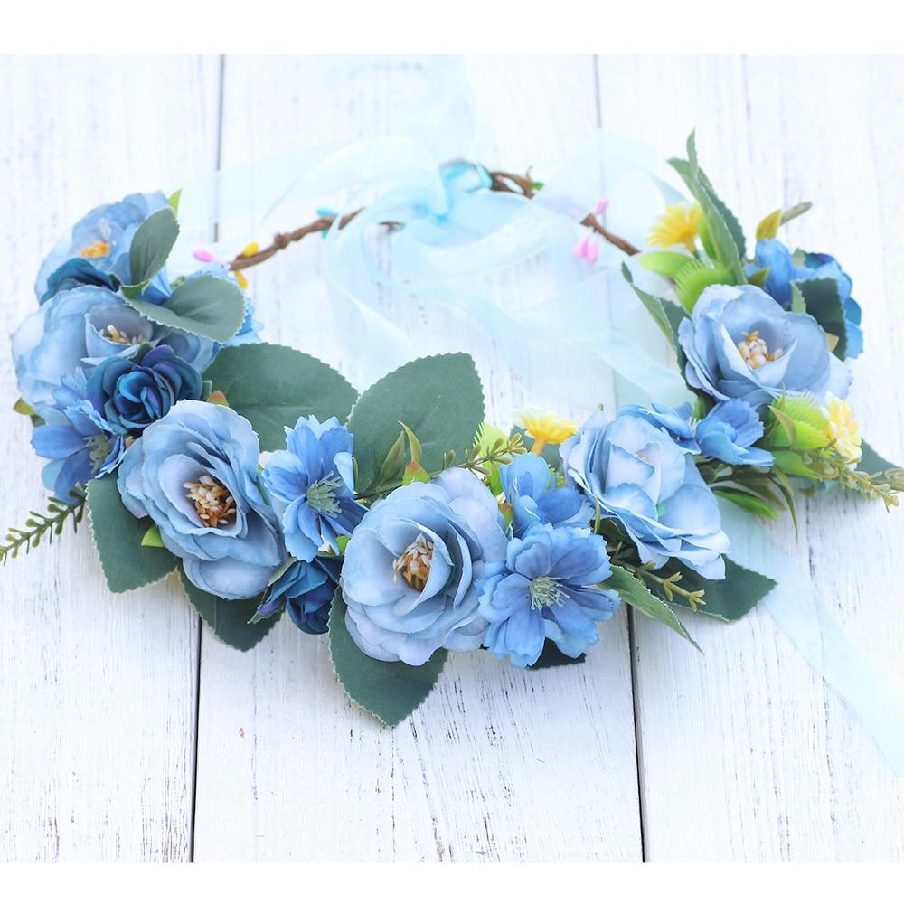 Aliexpress buy light blue wildflower hair crown headband aliexpress buy light blue wildflower hair crown headband garland wreath bohimian coachella garland headdress headpiece bridesmaid flower crown from izmirmasajfo