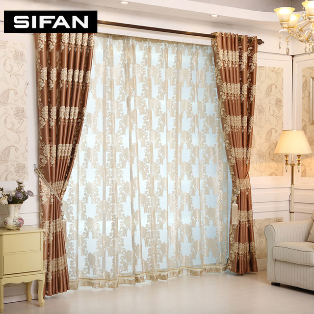 European Royal Luxury Jacquard Curtains For The Bedroom Window Living Room Fancy Blinds D