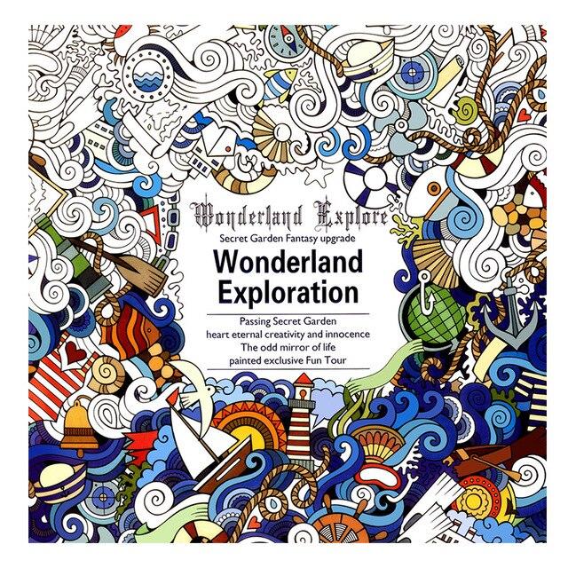 1 Pcs 24 Pages Wonderland Exploration Free Coloring Books For Children Adult Graffiti Anti