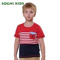 SOGNI KIDS Pocket Decoration Tshirts Splice Colors Survetement Football 2017 Baby Fashion New Stripe Short Sleeve