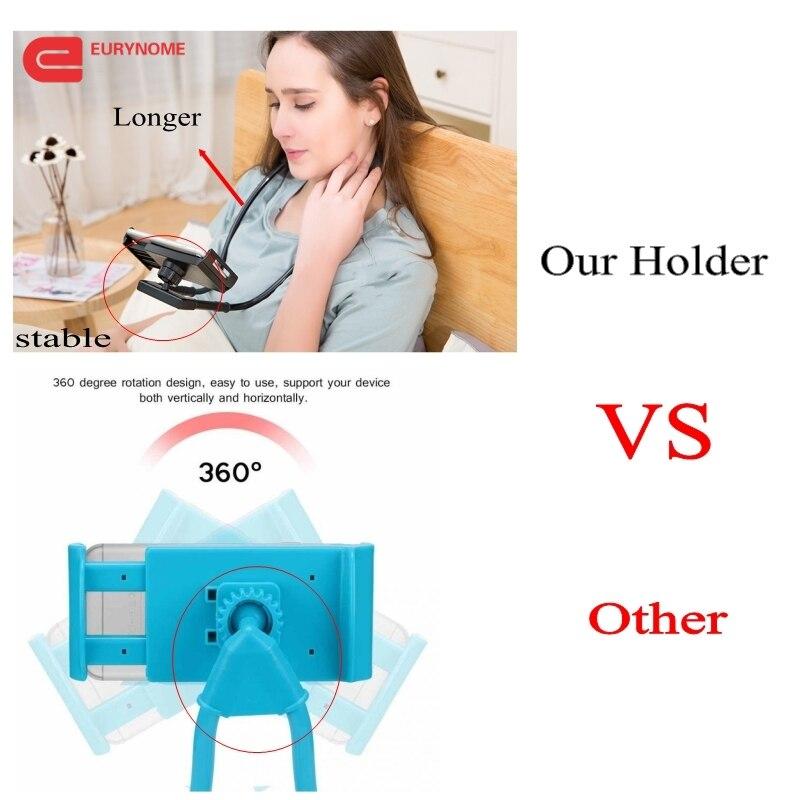 Lazy Bracket 360 Degree Rotation tablet Holder For samsung Hanging Neck Bracket phone Holder Stand Bed Mount For Ipad for huawei
