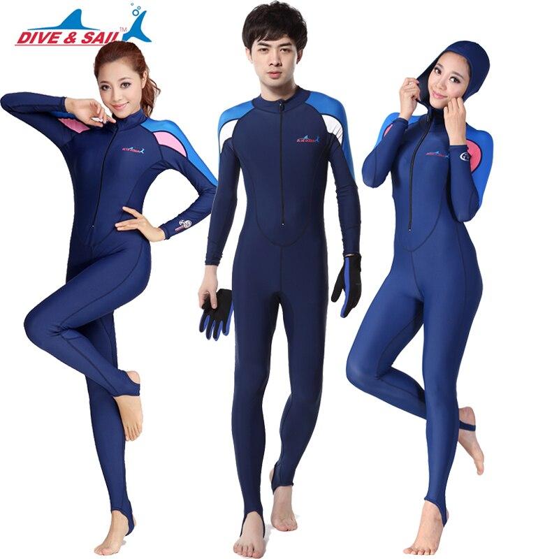 Brand UPF 50+ Lycra Swim stinger suit Dive skin Snorkeling Surf Waterski anti-uv wear 2 piece Full body with caps hood Men Women