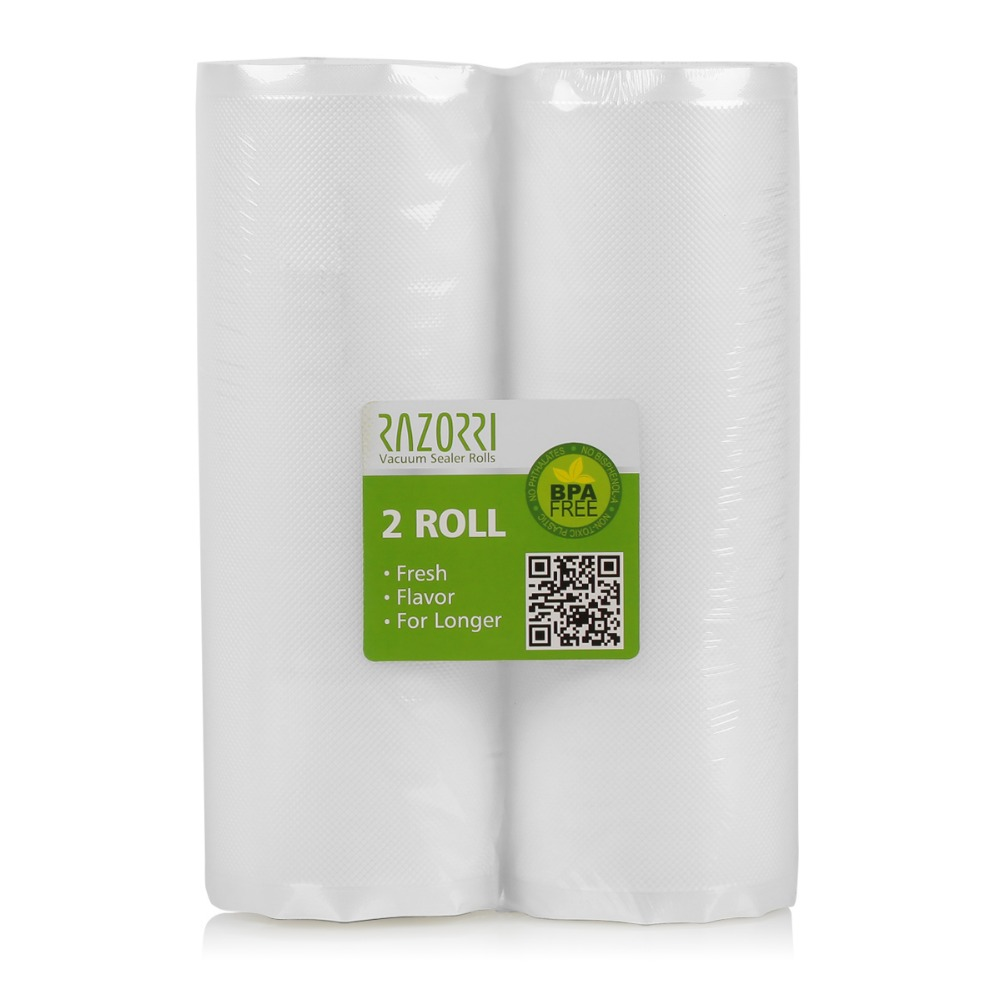 Razorri 2 Pack Vacuum Sealer Rolls Size 28CM X 15M Kitchen Food Saver Storage Bag Fresh Long Keeping for Razorri E5200M  E1800-C 10 15cm 100pcs food vacuum bag storage sealer space packing commercial food saver food processor accessories y05 c05