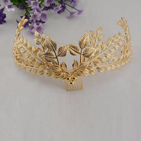 New Arrival 2017 Vintage Baroque Crown Golden Leaves Headwear Bridal Dresses European Wedding Veils Crown