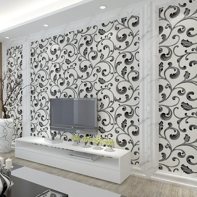 Européen 3D fond d'écran floral papier peint salon chambre TV mur papier peint de luxe 3D noir épais papier peint rouleau