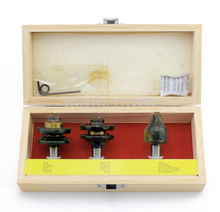 3PCS 1/2 Rail and Stile with Vertical Raised Panel Bit, Router Bit Set in Wooden Storage Box