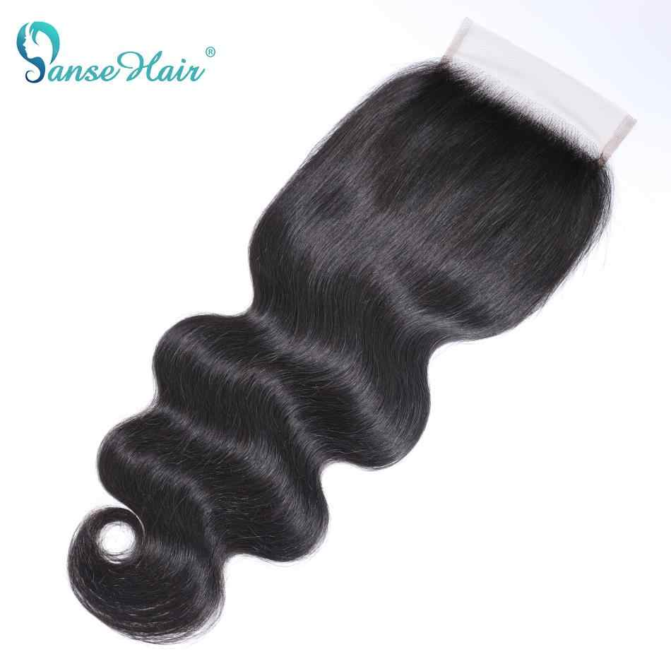 Panse волосы перуанские 100% человеческие волосы волнистые 8-22 дюймов 4*4 Кружева закрытие натуральный цвет не завитые здоровые волосы 1 шт