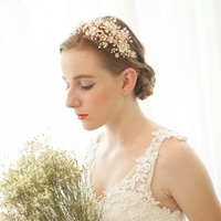 Floral Wedding Tiara Double Band Bridal Headband Crown Handmade Wedding Headpiece Hair Accessories