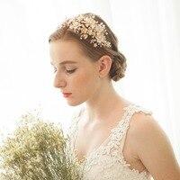 Floral Wedding Tiara Double Band Bridal Headband Crown Handmade Wedding Headpiece Hair Accessories