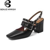 BONJOMARISA Brand Design Genuine Leather Buckle Strap Solid Square High Heels Shoes Woman Casual Fashion Summer
