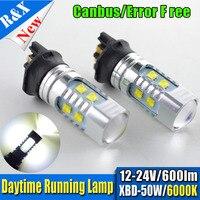 Paire 50 W Ambre AC12-24V PWY24W PW24W LED Ampoules Avant Tournant Lumières DRL Lampe