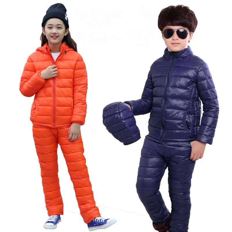 3 13T Children's Winter Warm Clothing Set Fashion Down Cotton Solid Clothing Suit Light Thin Hooded Outwear High Quality -in Clothing Sets from Mother & Kids