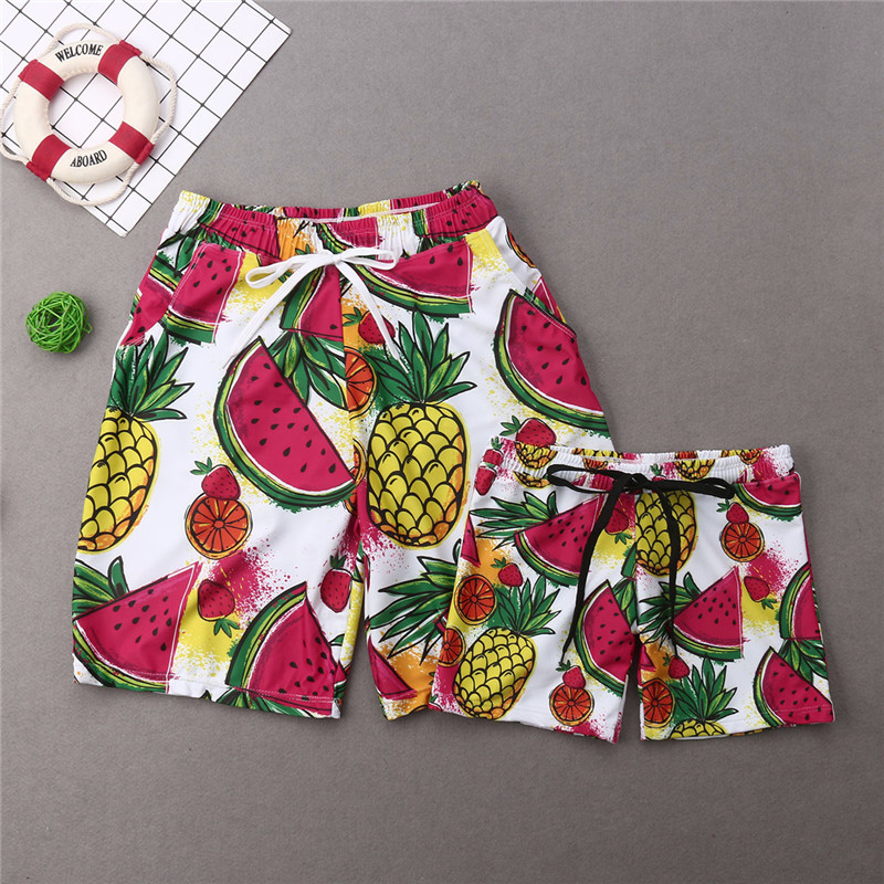 Swimwear Men Shorts Beachwear Matching Boy Trunks Women Kid Girl Bikini-Set Fruits Family