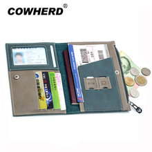 Passport Cover Split Genuine Leather Driver License Bag Car Driving Document Credit Card Holder Purse Wallet Case For Men Women(China)